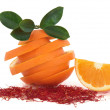 Saffron Spice and Orange Fruit - Stock Photo