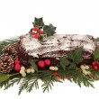 Stock Photo: Yule Log Chocolate Cake