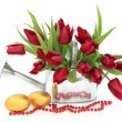 Easter Eggs and Tulips — Stock Photo #18626345