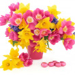 Stock Photo: Easter Flowers and Eggs