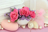 Rose Toiletries with Lavender — Stock Photo