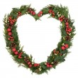 Heart Shaped Christmas Wreath — Stock Photo