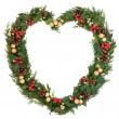 Christmas Heart Wreath — Stock Photo