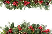 圣诞冬青边框 — 图库照片