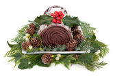 Chocolate Yule Log — Stock Photo