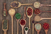 Herbs in Spoons — Stock Photo