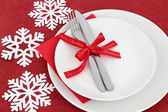 Christmas Dinner Place Setting — Stock Photo