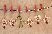 Adornos navideños de maderahouten kerstversiering — Foto de Stock