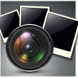 Lens with photo frames — Stock Vector