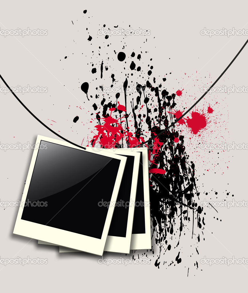 Background with photo frames over abstract paint splashes black and red, vector illustration. — Stock Vector #13073695