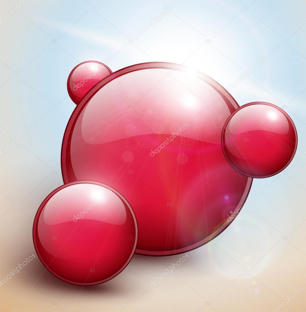 Red bubbles background, sunny vector illustration. — Stock Vector #13186801