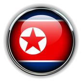 North Korea button — Stock Vector