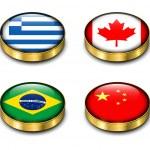 3D flags button — Stock Vector