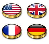 Przycisk 3d flagi — Wektor stockowy
