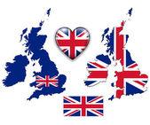 England UK flag, map. — Stock Vector