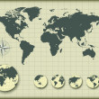 World map with earth globes — Imagen vectorial