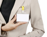 Businesswoman showing her badge — Stock Photo