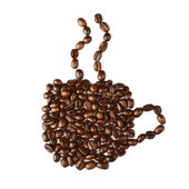 Cup of coffee made with coffee beans  — ストック写真