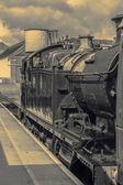 Starý parní vlak v černé a bílé — Stock fotografie
