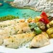 Tasty healthy fish fillet with vegetables — Stock Photo #13891605