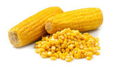 Two Corn pile on white background — Stock Photo