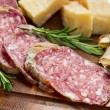 Bread parmesan cheese and salami — 图库照片