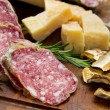 Bread parmesan cheese and salami — Stockfoto