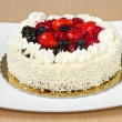 White Cream Icing Cake with Fruits — Stock Photo