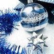 Blue and silver christmas decorations — Stock Photo