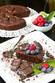 Taze berry ile çikolatalı kek — Stok fotoğraf