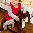Happy little child and a rocking horse. — Stock Photo #15747411