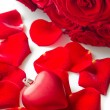 Red rose petals with heart — Stock Photo #16832237