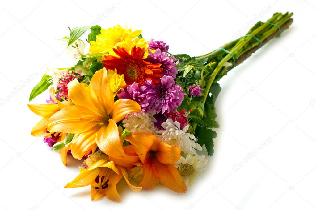 Beautiful Bouquet Of Bright Flowers Stock Photo