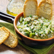Soup vegetable with crouton on bowl — Stock Photo