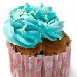Stock Photo: Blue Cupcake Icing
