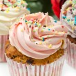 Stock Photo: Vanillcupcakes with buttercream icing