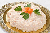 Creamy salmon mousse pie — Stock Photo