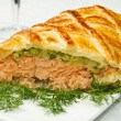 Stock Photo: Traditional salmon in puff pastry