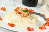 Risotto with grilled scallops — Stock Photo