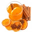 Tea with oranges and cinnamon — Stock Photo