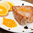 Fried tuna fillet with fresh orange and orange sauce — Stock Photo #18145445