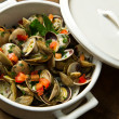 Delicious clams soup - Stock Photo
