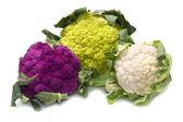 Tris of Fresh cauliflower on white background — Stock Photo