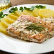 Salmon fillet with potatoes - Stock Photo