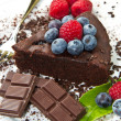 Chocolate cake with fresh berry - Stock Photo