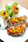 Grilled Steak Meat with cut vegetables — Stock Photo