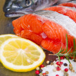 Slice of fresh salmon — Stock Photo