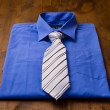 Stock Photo: New blue man's shirt and tie