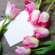 Pink tulips and card — Stock Photo
