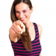 Woman pointing with forefinger - Stock Photo